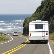 RV Motorhome on a coastal highway